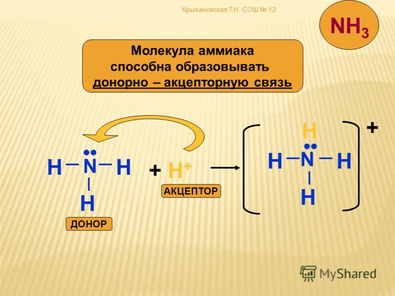 Крыжановская Т.Н. СОШ 12 Молекула аммиака способна образовывать донорно – акцепторную связь N HH H + H++ H+ N HH H H + АКЦЕПТОР ДОНОР NH 3