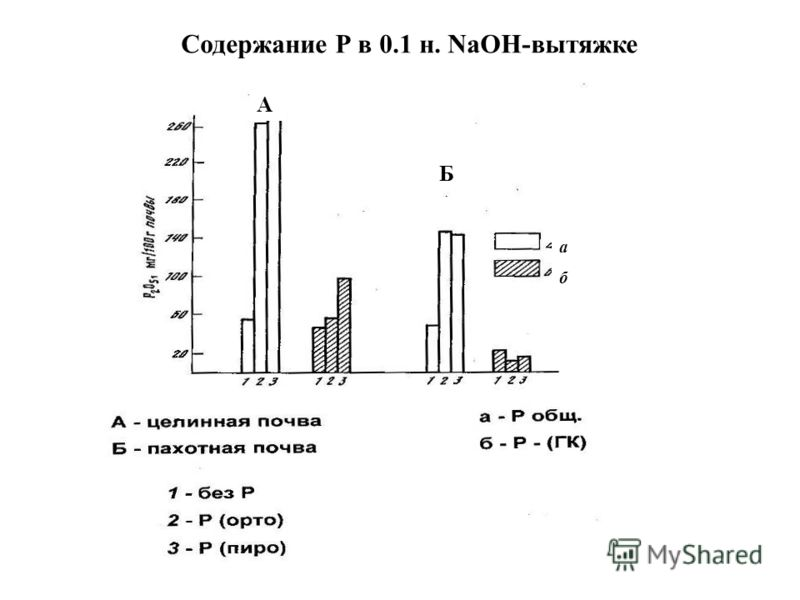 Содержание Р в 0.1 н. NaOH-вытяжке А Б а б