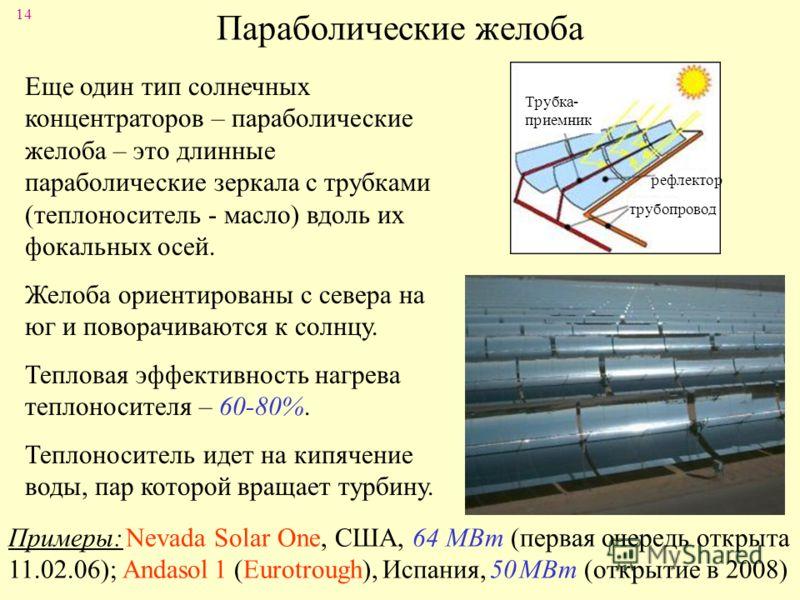 14 Параболические желоба Трубка- приемник рефлектор трубопровод Еще один тип солнечных концентраторов – параболические желоба – это длинные параболические зеркала с трубками (теплоноситель - масло) вдоль их фокальных осей. Желоба ориентированы с севе