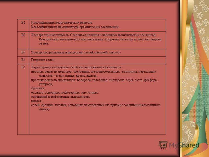 В1Классификация неорганических веществ. Классификация и номенклатура органических соединений. В2Электроотрицательность. Степень окисления и валентность химических элементов. Реакции окислительно-восстановительные. Коррозия металлов и способы защиты о