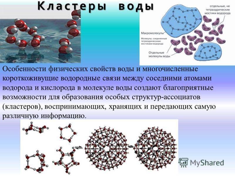 Особенности физических свойств воды и многочисленные короткоживущие водородные связи между соседними атомами водорода и кислорода в молекуле воды создают благоприятные возможности для образования особых структур-ассоциатов (кластеров), воспринимающих