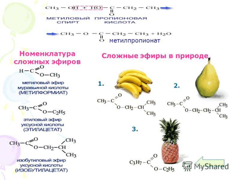 Номенклатура сложных эфиров Сложные эфиры в природе 1. 2. 3. метилпропионат