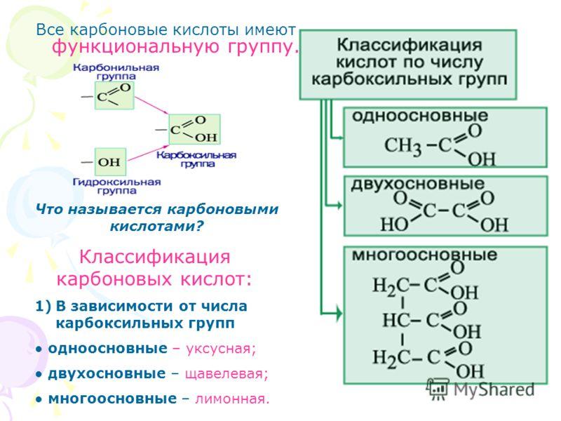 Все карбоновые кислоты имеют функциональную группу. Что называется карбоновыми кислотами? Классификация карбоновых кислот: 1)В зависимости от числа карбоксильных групп одноосновные – уксусная; двухосновные – щавелевая; многоосновные – лимонная.
