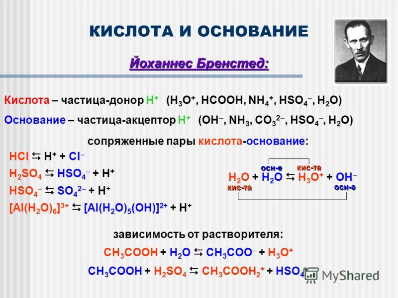 КИСЛОТА И ОСНОВАНИЕ Йоханнес Бренстед: Кислота – частица-донор Н + (H 3 O +, HCOOH, NH 4 +, HSO 4, H 2 O) Основание – частица-акцептор Н + (OH, NH 3, CO 3 2, HSO 4, H 2 O) сопряженные пары кислота-основание: HCl H + + Cl H 2 SO 4 HSO 4 + H + HSO 4 SO