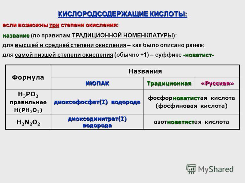 КИСЛОРОДСОДЕРЖАЩИЕ КИСЛОТЫ: Формула Названия ИЮПАКТрадиционная«Русская» H 3 РO 2 правильнее H(PH 2 O 2 ) диоксофосфат(I) водорода фосфорноватистая кислота (фосфиновая кислота) H2N2O2H2N2O2H2N2O2H2N2O2 диоксодинитрат(I) водорода азотноватистая кислота