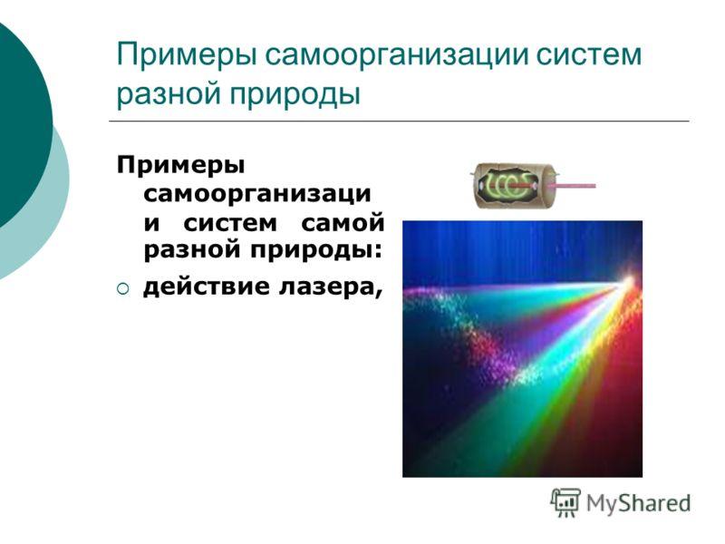 Примеры самоорганизации систем разной природы Примеры самоорганизаци и систем самой разной природы: действие лазера,