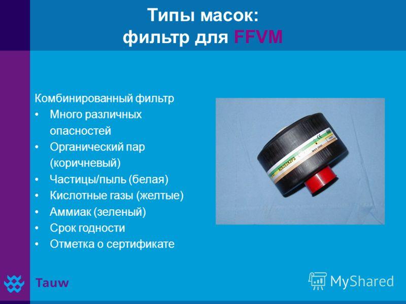 Типы масок: фильтр для FFVM Комбинированный фильтр Много различных опасностей Органический пар (коричневый) Частицы/пыль (белая) Кислотные газы (желтые) Аммиак (зеленый) Срок годности Отметка о сертификате
