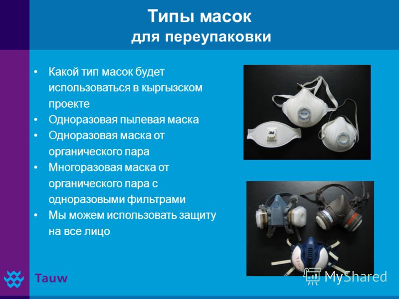 Типы масок для переупаковки Какой тип масок будет использоваться в кыргызском проекте Одноразовая пылевая маска Одноразовая маска от органического пара Многоразовая маска от органического пара с одноразовыми фильтрами Мы можем использовать защиту на