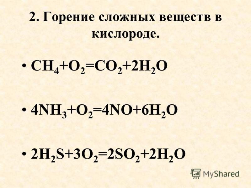 2. Горение сложных веществ в кислороде. CH 4 +O 2 =CO 2 +2H 2 O 4NH 3 +O 2 =4NO+6H 2 O 2H 2 S+3O 2 =2SO 2 +2H 2 O