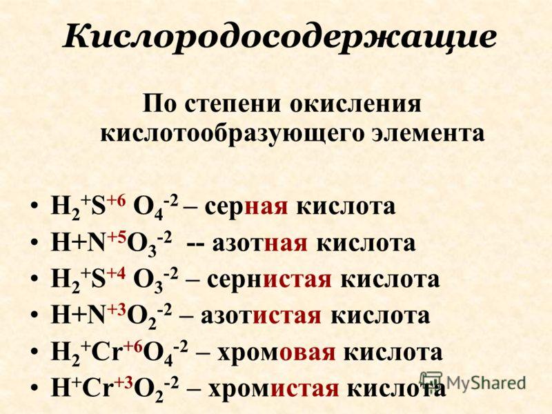 Кислородосодержащие По степени окисления кислотообразующего элемента H 2 + S +6 O 4 -2 – cерная кислота H+N +5 O 3 -2 -- азотная кислота H 2 + S +4 O 3 -2 – сернистая кислота H+N +3 O 2 -2 – азотистая кислота H 2 + Cr +6 O 4 -2 – хромовая кислота H +