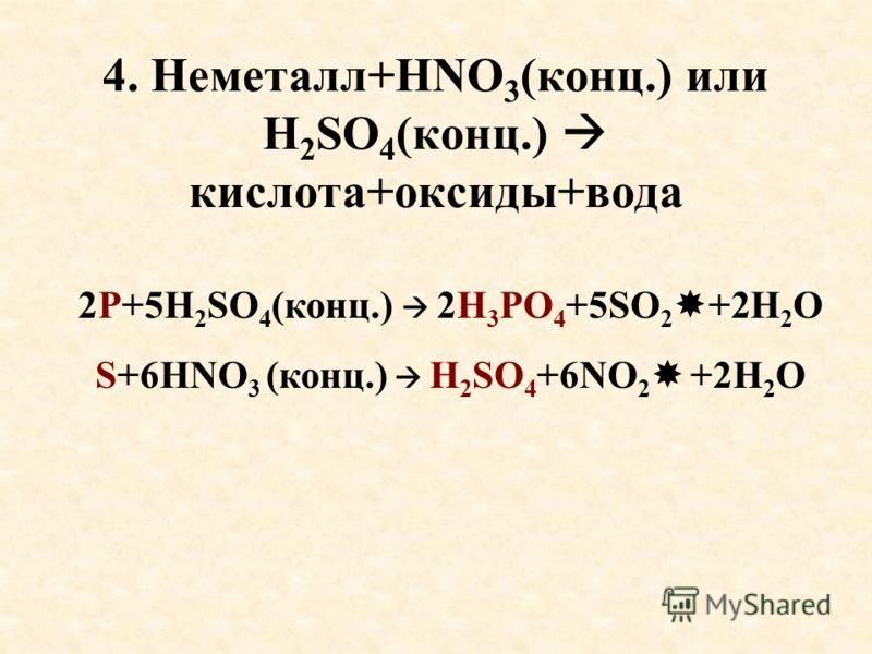 4. Неметалл+HNO 3 (конц.) или H 2 SO 4 (конц.) кислота+оксиды+вода 2P+5H 2 SO 4 (конц.) 2H 3 PO 4 +5SO 2 +2H 2 O S+6HNO 3 (конц.) H 2 SO 4 +6NO 2 +2H 2 O