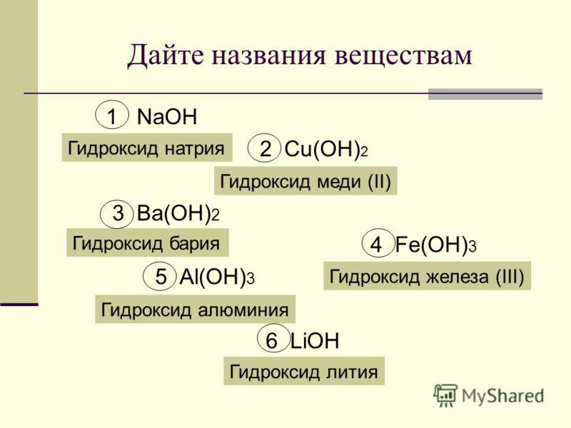 Дайте названия веществам 1 NaOH 2 Cu(OH) 2 3 Ba(OH) 2 4 Fe(OH) 3 5 Al(OH) 3 6 LiOH Гидроксид натрия Гидроксид меди (II) Гидроксид бария Гидроксид алюминия Гидроксид лития Гидроксид железа (III)