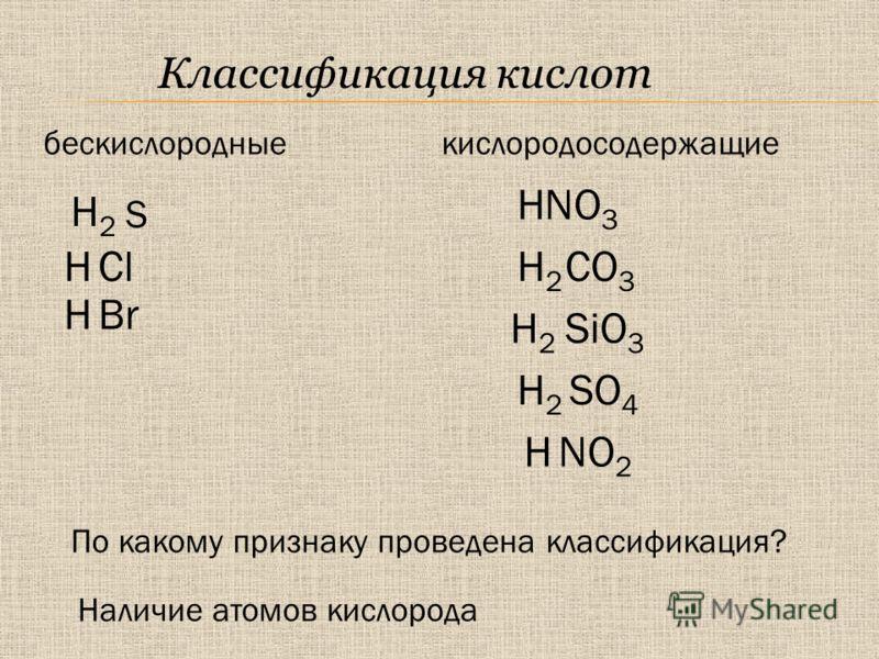 Классификация кислот CO 3 NO 3 SO 4 H2H2 SiO 3 H2H2 H HCl BrH H2H2 HNO 2 S H2H2 кислородосодержащиебескислородные По какому признаку проведена классификация? Наличие атомов кислорода