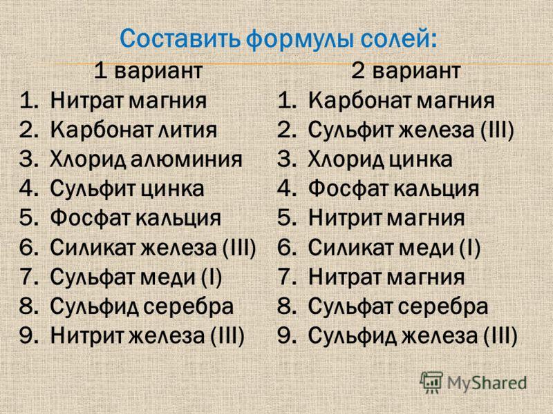 1 вариант 1.Нитрат магния 2.Карбонат лития 3.Хлорид алюминия 4.Сульфит цинка 5.Фосфат кальция 6.Силикат железа (III) 7.Сульфат меди (I) 8.Сульфид серебра 9.Нитрит железа (III) 2 вариант 1.Карбонат магния 2.Сульфит железа (III) 3.Хлорид цинка 4.Фосфат