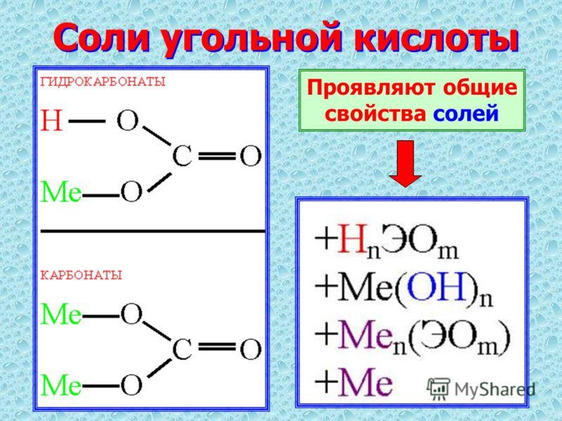 Соли угольной кислоты Проявляют общие свойства солей