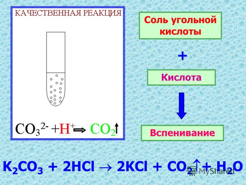 K 2 CO 3 + 2HCl 2KCl + CO 2 + H 2 O Соль угольной кислоты + Кислота Вспенивание