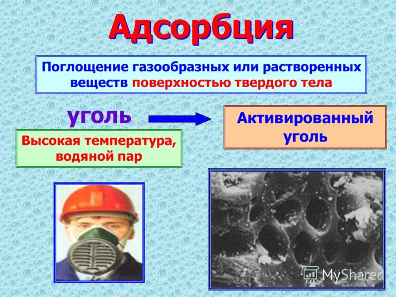 Адсорбция Поглощение газообразных или растворенных веществ поверхностью твердого тела Активированный уголь Высокая температура, водяной пар уголь