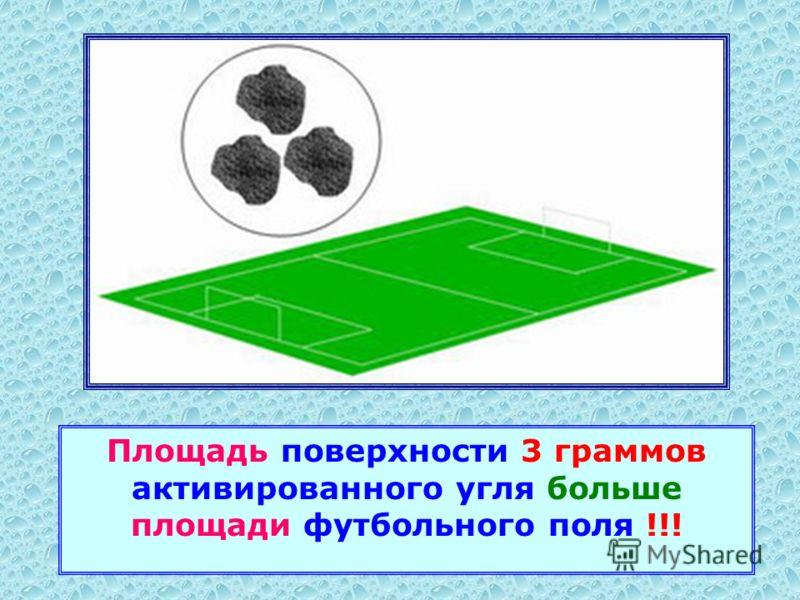 Площадь поверхности 3 граммов активированного угля больше площади футбольного поля !!!