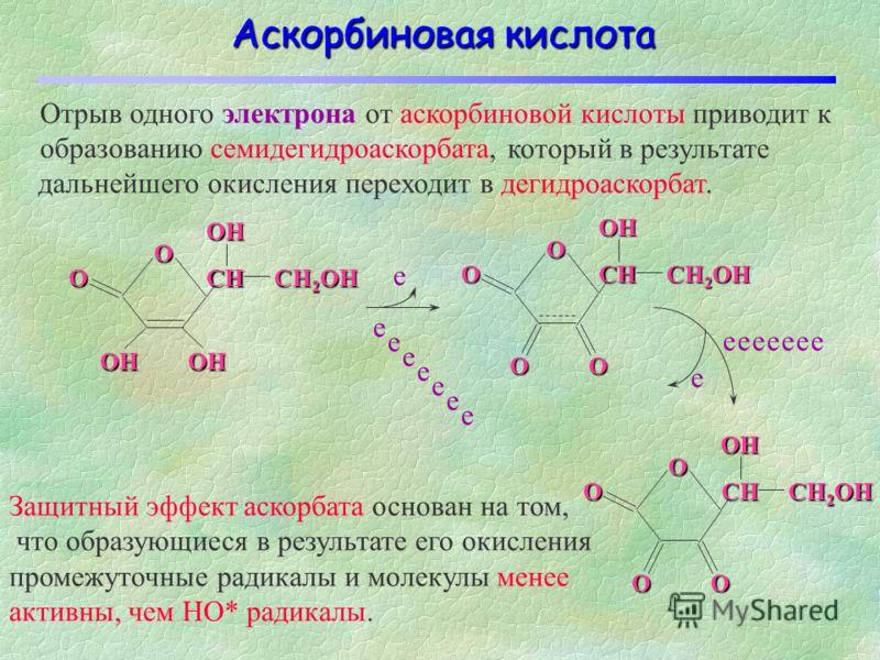 AscH 2 – двухосновная кислота При pH 7.4, 99.95% витамина C присутствует в виде AscH - ; 0.05% как AscH 2 и 0.004% как Asc 2-. Т.о., в реакциях витамина С в организме принимает участие преимущественно AscH -. O O OH HO HO OH AscH 2 O OH O HO O OH Asc