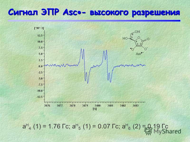 Сигнал ЭПР Asc - Радикал аскорбата представляет собой дублетную линию. Интенсивность сигнала ЭПР Asc - может быть использована для оценки величины окислительного стресса in vitro и in vivo. a H = 1.8 G g = 2.0052 3476.03482.0 Гаусс