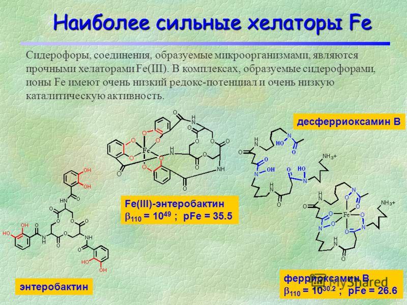 Различные типы лигандов Fe (I) (II) (III) (IV) (V) (VI) (VII)(VIII) (IX) Основными лигандами Fe в организме являются: амины (I), карбоксилы (II и VI), имидазолы (III), фенолы (IV), тиолы (V), катехолы (VII), гидроксаматы (VIII) и порфирины (IX). Обра