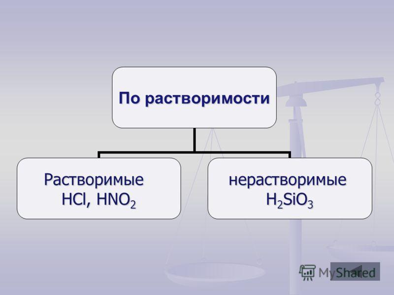 По растворимости Растворимые HCl, HNO2 нерастворимые H2SiO3