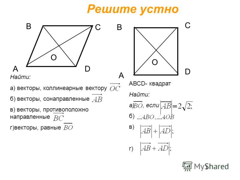 Решите устно А В С D О А В С А D СВ А О D СВ А Найти: а) векторы, коллинеарные вектору б) векторы, сонаправленные в) векторы, противоположно направленные г)векторы, равные АВСD- квадрат Найти: а), если б) в) г)