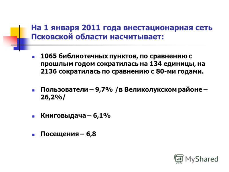 На 1 января 2011 года внестационарная сеть Псковской области насчитывает: 1065 библиотечных пунктов, по сравнению с прошлым годом сократилась на 134 единицы, на 2136 сократилась по сравнению с 80-ми годами. Пользователи – 9,7% /в Великолукском районе