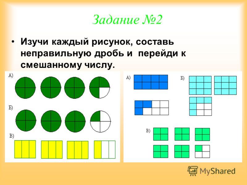Задание 1 Составь смешанное число и перейди к неправильной дроби.
