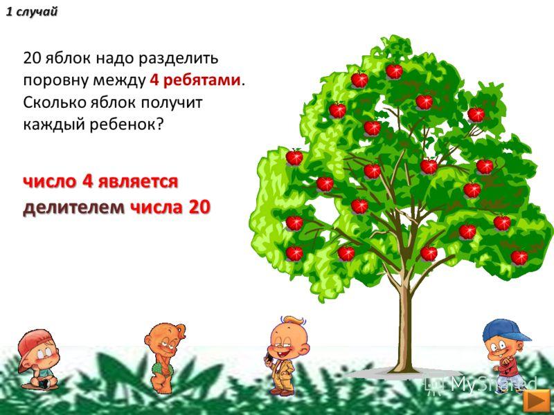 20 яблок надо разделить поровну между 4 ребятами. Сколько яблок получит каждый ребенок? число 4 является делителем числа 20 1 случай
