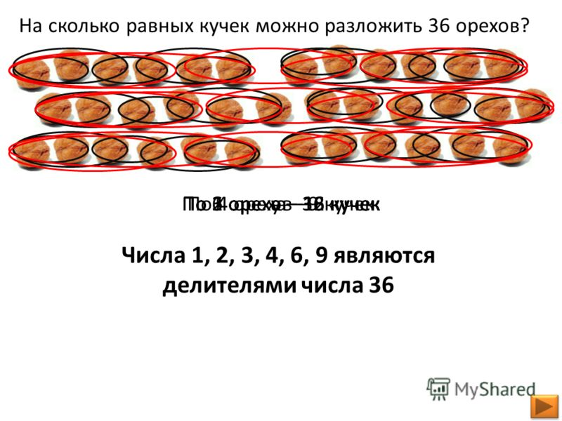 На сколько равных кучек можно разложить 36 орехов? По 1 ореху – 36 кучекПо 2 ореха – 18 кучекПо 3 ореха – 12 кучекПо 4 ореха – 9 кучекПо 6 орехов – 6 кучек Числа 1, 2, 3, 4, 6, 9 являются делителями числа 36