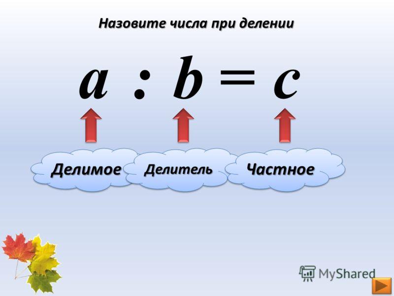Назовите числа при делении a b с : = ДелимоеДелимоеДелительДелительЧастноеЧастное