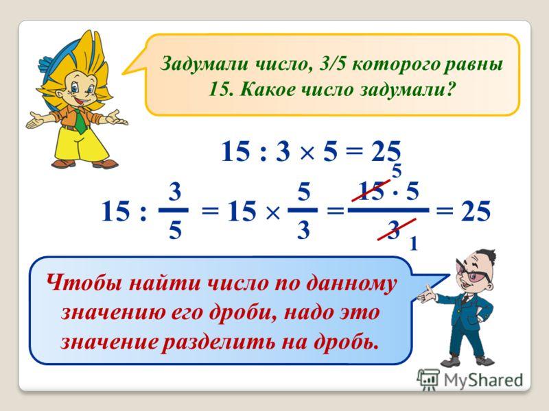 Задумали число, 3/5 которого равны 15. Какое число задумали? 15 : 3 5 = 25 15 : = 15 = = 25 3 5 5 3 15 · 5 3 5 1 Чтобы найти число по данному значению его дроби, надо это значение разделить на дробь.