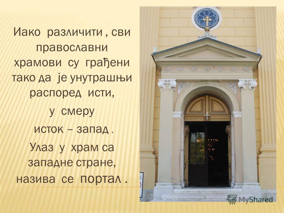 Иако различити, сви православни храмови су грађени тако да је унутрашњи распоред исти, у смеру исток – запад. Улаз у храм са западне стране, назива се портал.
