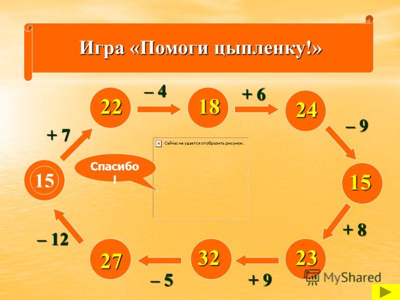 Игра «Помоги цыпленку!» 15 + 7 – 12 – 5 + 9 + 8 – 9 + 6 – 4 22 27 3223 15 24 18 Спасибо !