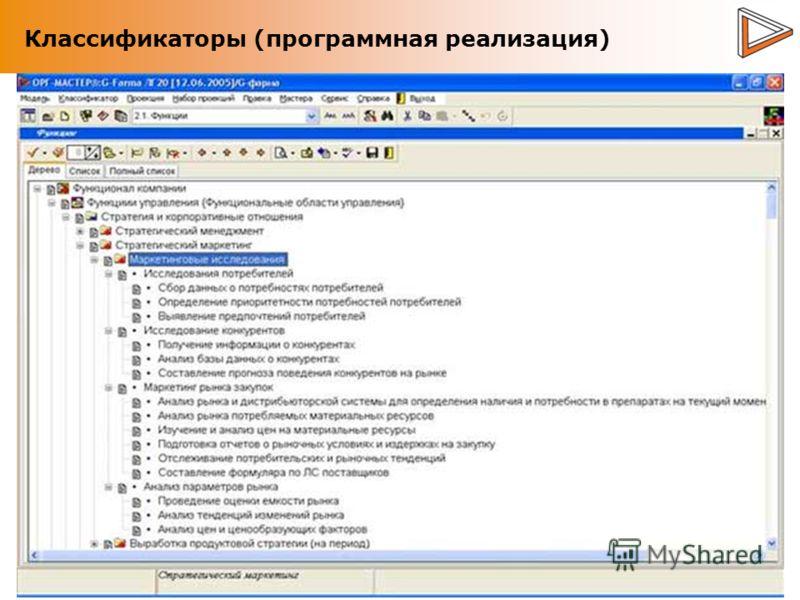 Классификаторы (программная реализация)