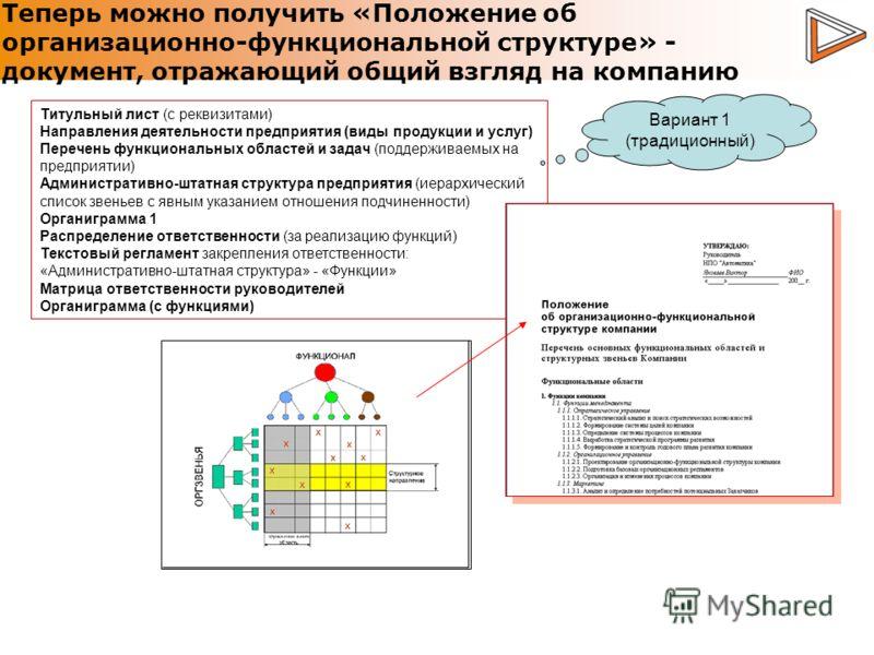 Теперь можно получить «Положение об организационно-функциональной структуре» - документ, отражающий общий взгляд на компанию Титульный лист (с реквизитами) Направления деятельности предприятия (виды продукции и услуг) Перечень функциональных областей