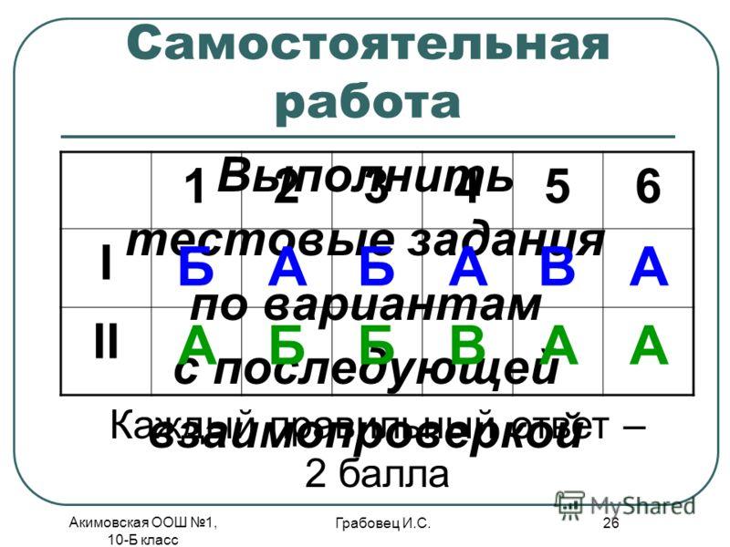 Акимовская ООШ 1, 10-Б класс Грабовец И.С. 26 Самостоятельная работа Выполнить тестовые задания по вариантам с последующей взаимопроверкой 123456 І БАБАВА ІІ АББВАА Каждый правильный ответ – 2 балла