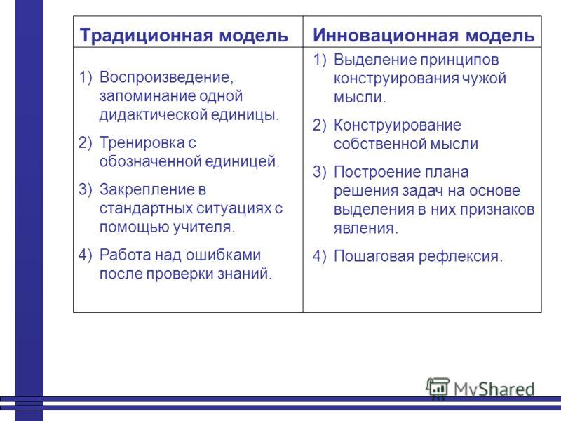 Традиционная модельИнновационная модель 1)Воспроизведение, запоминание одной дидактической единицы. 2)Тренировка с обозначенной единицей. 3)Закрепление в стандартных ситуациях с помощью учителя. 4)Работа над ошибками после проверки знаний. 1)Выделени