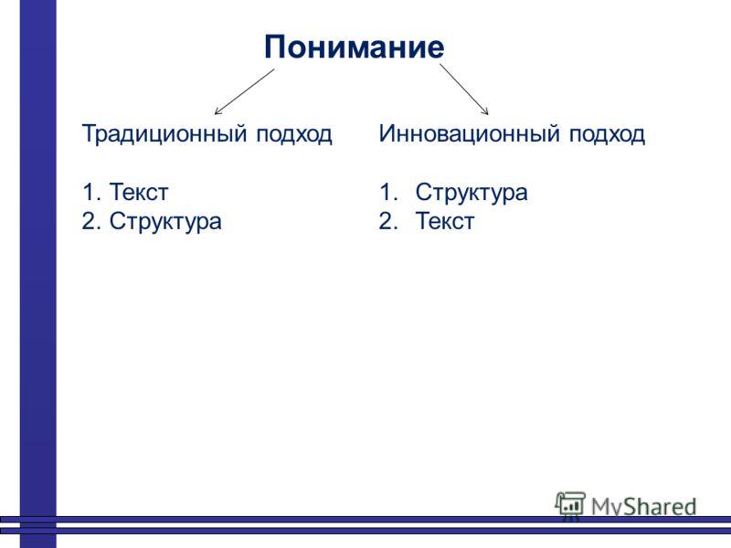 Понимание Традиционный подход 1.Текст 2.Структура Инновационный подход 1.Структура 2.Текст