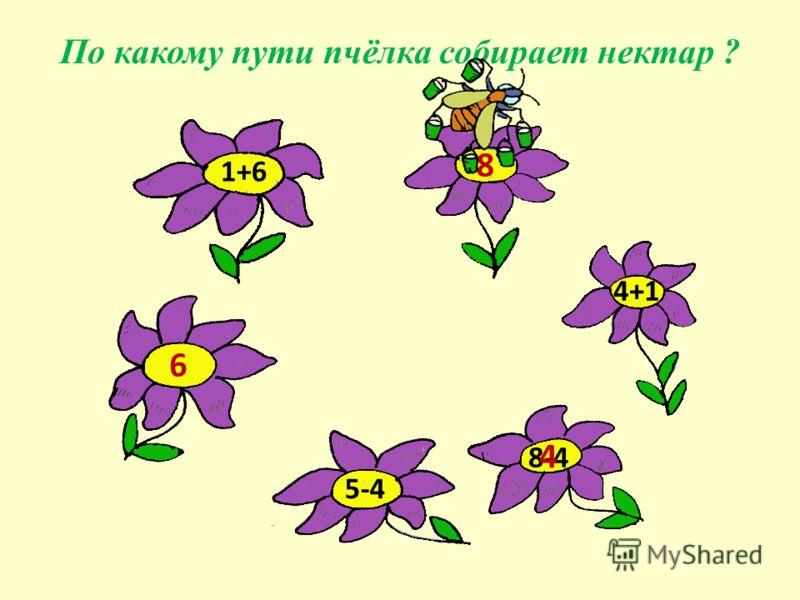 1+6 4+1 8-4 5-4 По какому пути пчёлка собирает нектар ? 6 8 4