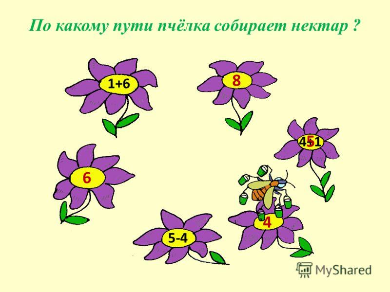 1+6 4+1 5-4 По какому пути пчёлка собирает нектар ? 6 8 4 5