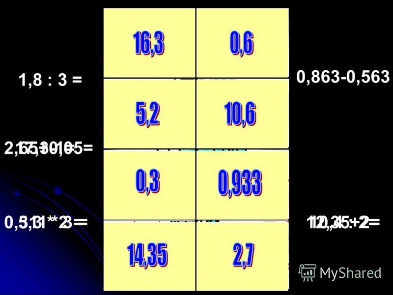 17,3-1=2,65+0,05= 5,3 * 2 = 1,8 : 3 = 0,863-0,563 10,4 : 2=12,35+2=0,311 * 3 =