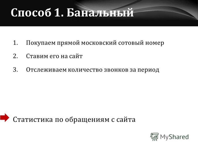 Способ 1. Банальный 1.Покупаем прямой московский сотовый номер 2. Ставим его на сайт 3. Отслеживаем количество звонков за период Статистика по обращениям с сайта