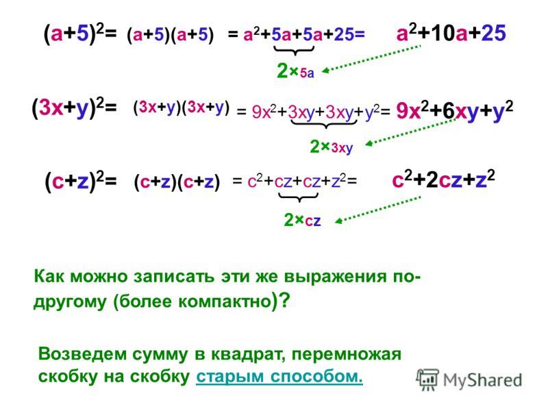 (a+5)2=(a+5)2= (3x+y) 2 = (c+z)2=(c+z)2= Как можно записать эти же выражения по- другому (более компактно )? Возведем сумму в квадрат, перемножая скобку на скобку старым способом.старым способом. = a 2 +5a+5a+25= = 9x 2 +3xy+3xy+y 2 = = c 2 +cz+cz+z