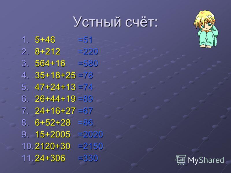 Устный счёт: 1.5+46 2.8+212 3.564+16 4.35+18+25 5.47+24+13 6.26+44+19 7.24+16+27 8.6+52+28 9.15+2005 10.2120+30 11.24+306 =51=220=580=78=74=89=67=86=2020=2150=330