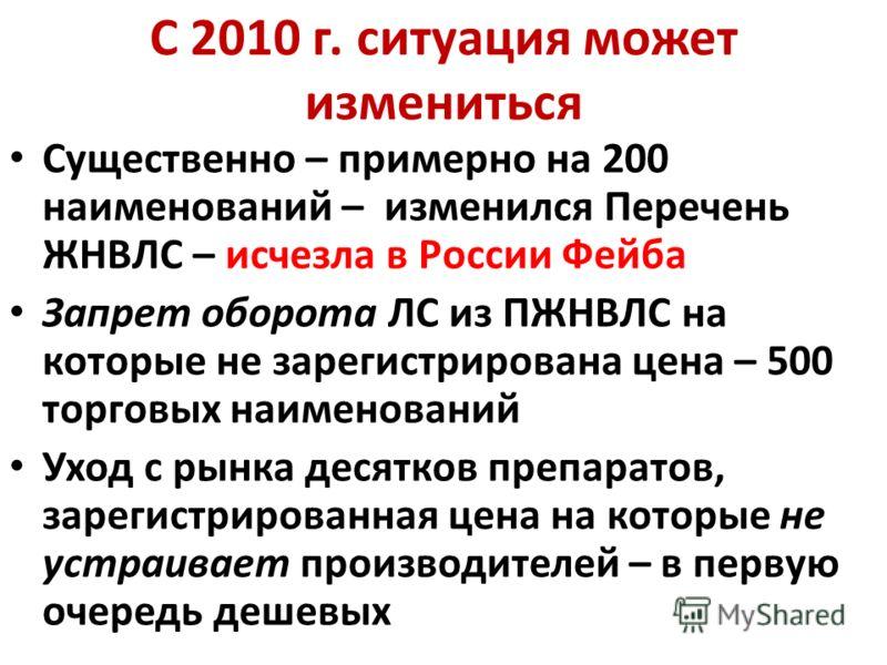 С 2010 г. ситуация может измениться Существенно – примерно на 200 наименований – изменился Перечень ЖНВЛС – исчезла в России Фейба Запрет оборота ЛС из ПЖНВЛС на которые не зарегистрирована цена – 500 торговых наименований Уход с рынка десятков препа