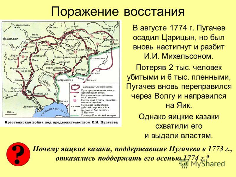 Поражение восстания В августе 1774 г. Пугачев осадил Царицын, но был вновь настигнут и разбит И.И. Михельсоном. Потеряв 2 тыс. человек убитыми и 6 тыс. пленными, Пугачев вновь переправился через Волгу и направился на Яик. Однако яицкие казаки схватил