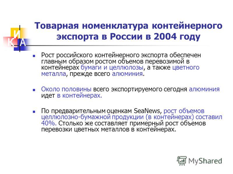 Товарная номенклатура контейнерного экспорта в России в 2004 году Рост российского контейнерного экспорта обеспечен главным образом ростом объемов перевозимой в контейнерах бумаги и целлюлозы, а также цветного металла, прежде всего алюминия. Около по