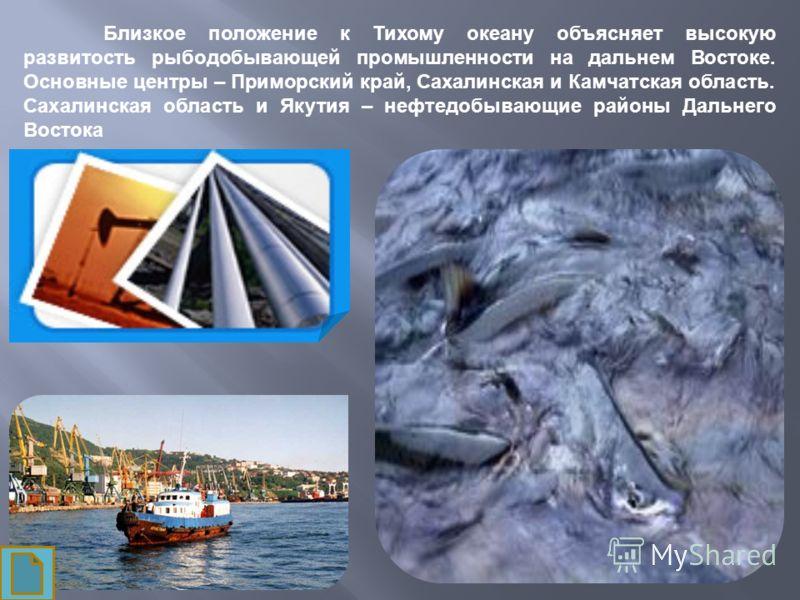 Близкое положение к Тихому океану объясняет высокую развитость рыбодобывающей промышленности на дальнем Востоке. Основные центры – Приморский край, Сахалинская и Камчатская область. Сахалинская область и Якутия – нефтедобывающие районы Дальнего Восто